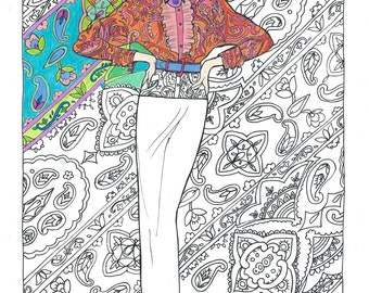 Adult Coloring Book Page Posing In Paisley