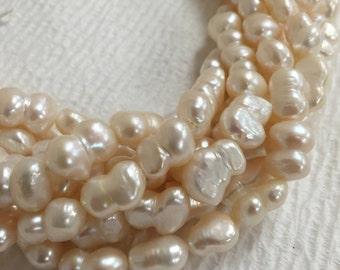 Fresh water pearls white irregular shape 15.5 inch.I-PEA-0277