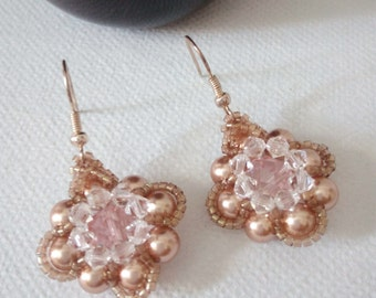 Rose Gold Bridal Earrings, Rose Gold Earrings, Rose Gold Bridal Jewelry with Pearls and Crystals, Rose Gold Crystal earrings