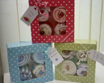 Baby cupcake gift - vests, bibs and socks