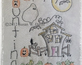 PDF Embroidery Pattern, Digital File, 686 Happy Haunting, Hand Embroidery