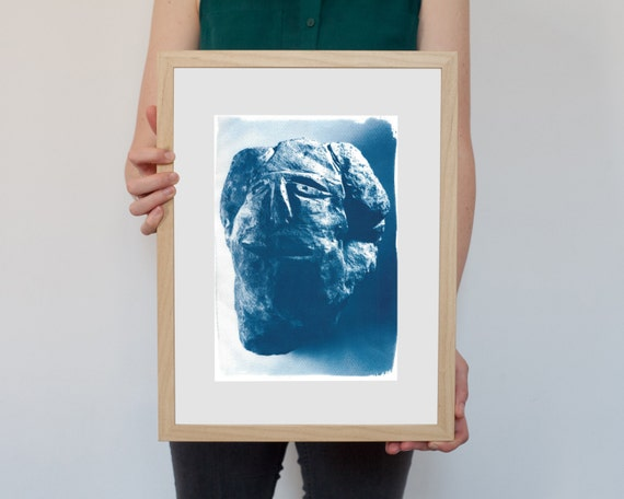Cyanotype Print, Abstract Rock Face Sculpture on Watercolor Paper, A4 size