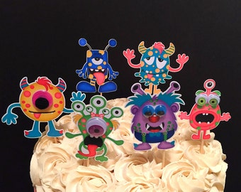 Monster Party Cupcake Toppers (Monster Decorations, Monster Birthday, Monster Bash)