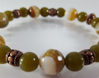 Varigated Agate and Jasper Beaded Bracelet