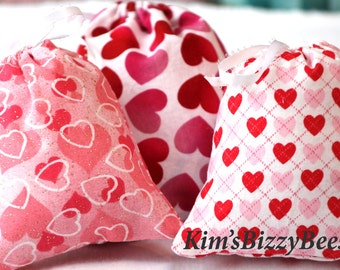 valentine treat bags 4x6 treat bags set of three heart treat bags