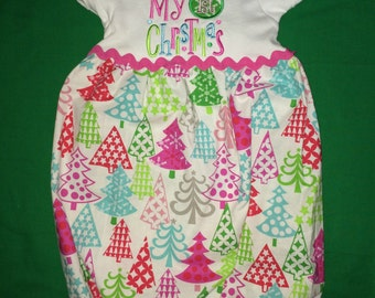 My 1st Christmas appliqued infant gown