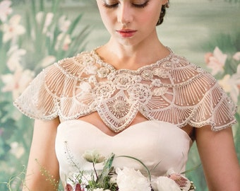Art Deco Cover Ups in Ivory Pearl and Crystal Beaded embellished bridal cover ups and capelet for wedding - Handmade