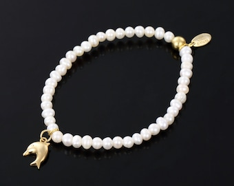 SARULO White Freshwater Pearls 24k Gold Plated 925 Sterling Silver Bracelet  Gift Set