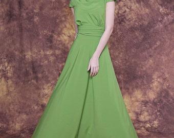 Long sage green dress with cap sleeve/ Sage bridesmaid dress/ Sage formal dress/ Sage evening dress/ Sage party dress/ Anniversary dress