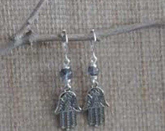 Perfect little Hamsa with denim glass bead on silver fish hook ear wires