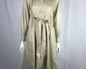 Adorable vintage 70s 80s khaki trench coat dress small XS