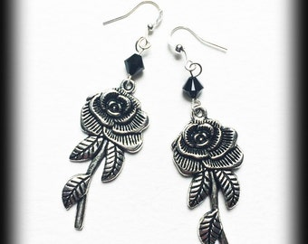 Gothic Victorian Antique Silver Rose Earrings - Swarovski Crystals - Unique Gift Idea