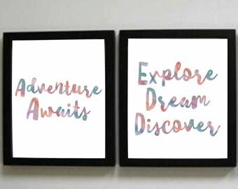Adventure Prints, Explore, Dream, Discover Print, Instant Download, Watercolor print, Teacher Decor, Nursery Decor