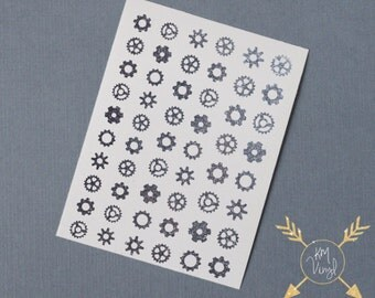 Steampunk Gear Glitter Vinyl Nail Decals, Glitter, Metallic