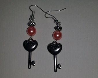 "Handmade ""Love is the Key"" earrings"
