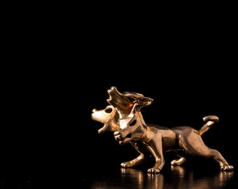 Miniature Bronze Cerberus Sculpture inspired by statues of Greek Mythology; the dogs of Hades