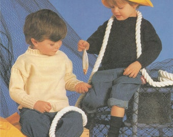 Childrens Guernsey Sweater PDF Knitting Pattern : Toddlers Boy or Girl 20 - 22 inch chest . 5 Ply Yarn . Toddlers Jumper . Digital Download