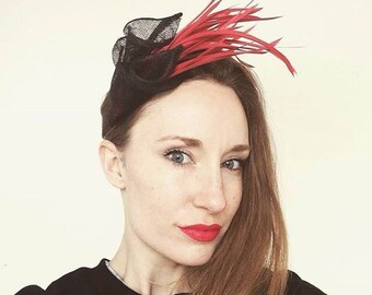Black and red lily fascinator