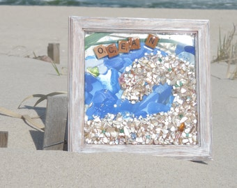 Ocean Love Resin with Sea Glass