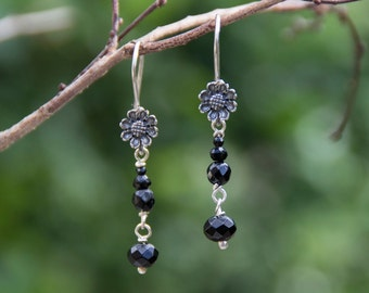 Black Onyx and Silver Sterling Flower Earrings