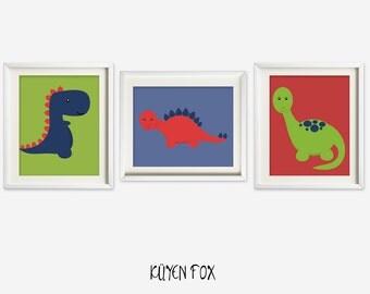 Dinosaur wall art - dinosaur nursery art - kids wall art - Nursery Decor - blue dinosaur room decor - red dinosaur room print