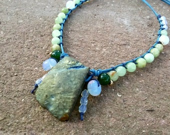 Big stone necklace Titanium Agate Bold necklace Statement Row stone necklace Green Agate Bohemian Bib stone necklace Large Titanium jewelry