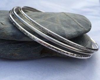 Sterling Silver Bangle Set, Stacking Bangles, Silver Bracelet Set, Plain Bangles, Hammered Bangles, Handmade Bangle Stack, Everyday Bracelet