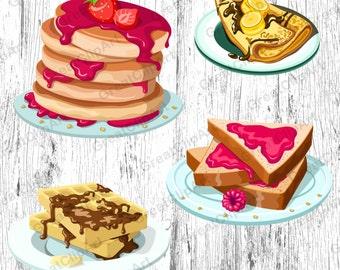 4 Food clipart, Breakfast clipart, pancakes clipart, waffles clipart, syrup clipart, Breakfast clipart set, fruits clipart,scrapbooking clip