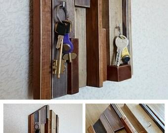 Key Holder pallet wood Key Hook reclaimed wood art Key Rack geometric art key hanger Entryway Organizer farmhouse decor wall key holder