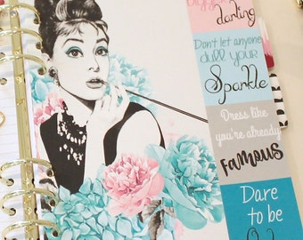 GLAM GIRL Planner Dashboard, Fashion Girl with Quotes, A5 Dashboard, Personal Planner Dashboard, Girly Girl, Planner Inserts, Color Crush
