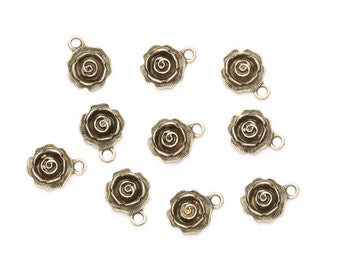 10 Bronze Rose Charms - Antique Bronze Rose Pendants - Bronze Charms - UK charms