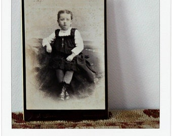Young Girl with Crucifex Victorian Cabinet Card by Green Photographers Sepia Photo Sitting on West Peak Meriden CT Vintage Photo