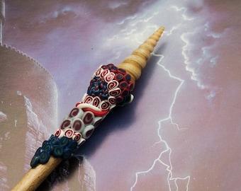 Sea Witch's wand-magic wand-Harry Potter wand-wizard wand-Cosplay wand-polymer clay wand-wood wand-decorative wand-party wand-mage wand