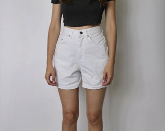 Vintage White High Waist Shorts | Lee High Waist Shorts  | White Shorts | Mom Shorts | XS