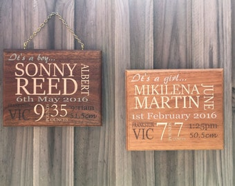 Baby Birth Stats Board. Wood Birth Announcement Wall Hanging