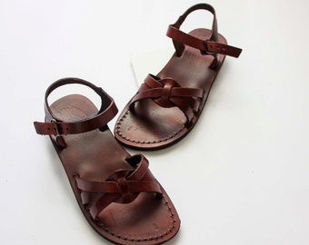 Buckle sling sandals , New Jesus sandals model  from holyland made from brown leather layers and rubber sole to be special gift