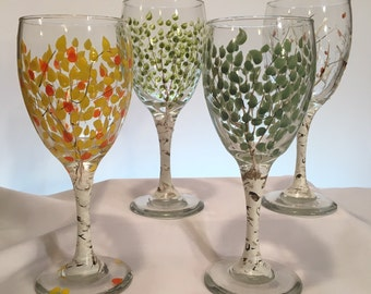 Aspen Tree Wine Glasses ~ Hand Painted Set of 4.
