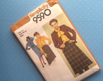 Vintage Sewing Pattern - Simplicity 9590 - Retro 1980 Dressmaking Pattern - Blouse Shirt Skirt Sewing Pattern - Size 14 Bust 92 cm Sewing