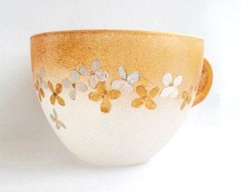 Glass coffee mug, Tea mug, Coffee mug, Hand painted glass mug, Pressed flowers glass mug