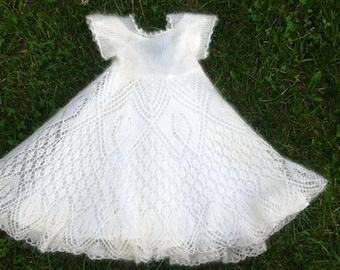 Off white lace christening, baptism dress.