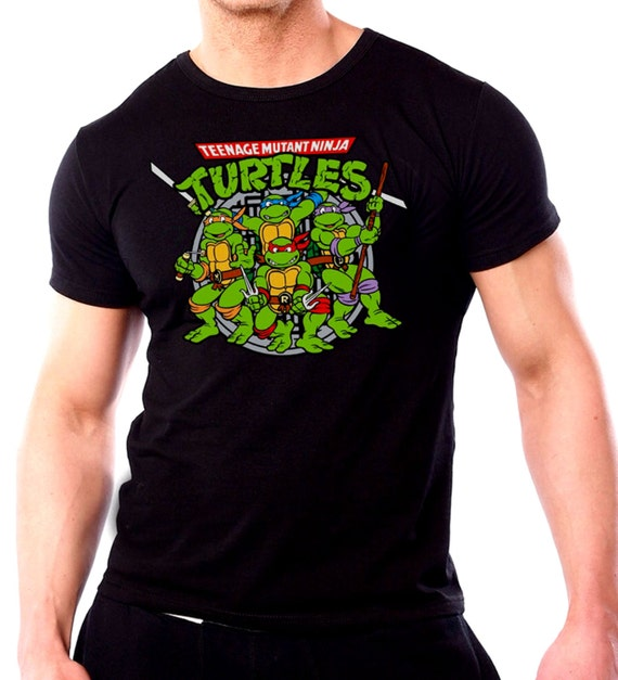 Ninja turtles mens t shirt black tmnt t shirt 2016 movie fan for Turtle shirts for men