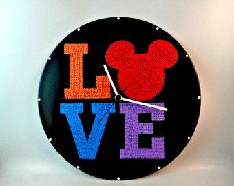 Mickey, Wall clock, Mickey Love, Vinyl clock, Disney clock, Disney, Mickey art, Mickey Mouse, Wall art, Kids decor, MiniDotClocks