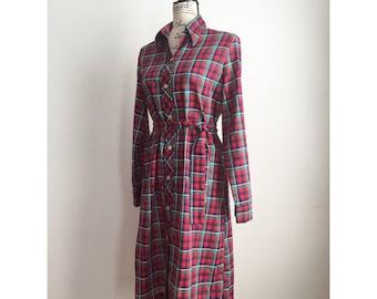 Vintage Shirt Dress, Vintage Plaid Shirt Dress, Plaid Dress, Button-up Plaid Dress, Vintage JCPenney