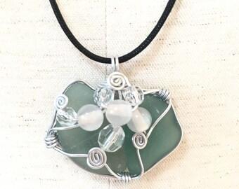 Sea glass jewelry green 2