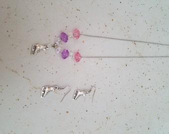 Ice Skate jewelry set. Necklace & Earrings.