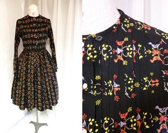 1950s dress / 50s colorful birds & pintuck cotton dress small/ novelty print day dress