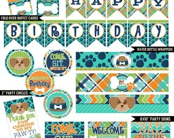 Pampered Pooch Digital Printable Boys Puppy Dog Birthday Party Printables Package INSTANT DOWNLOAD