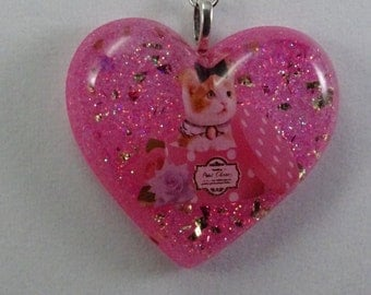 kitty Resin Pendant Necklace, Kitty Necklace, Beaded Necklace, Kitty Pendant, Girls Jewelry, Free Shipping