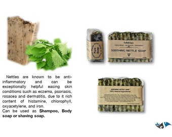 Nettle soap/shampoo/shaving soap with Goats milk,handmade,natural,relief:psoriasis, rosacea. Handmade, uncented,all natural