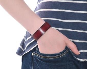 Red Leather Wrap Bracelet / Leather Wrist Cuff, Mens Leather Bracelet / Leather Bracelet Women, Leather Cuff Bracelet, Leather Arm Cuff